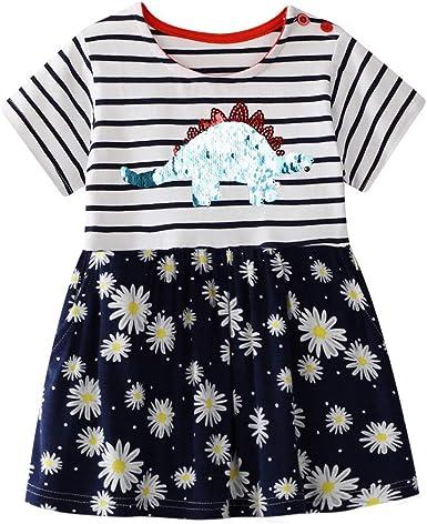 Kids Girls Fruit Print Mini Dress Sleeveless Party Holiday Sundress Long Tops