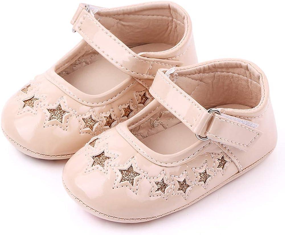 Babelvit Baby Girls Mary Jane Flats with Bow Anti Slip Hard Bottom Infant Walking Shoes Flower Princess Dress Wedding Shoes