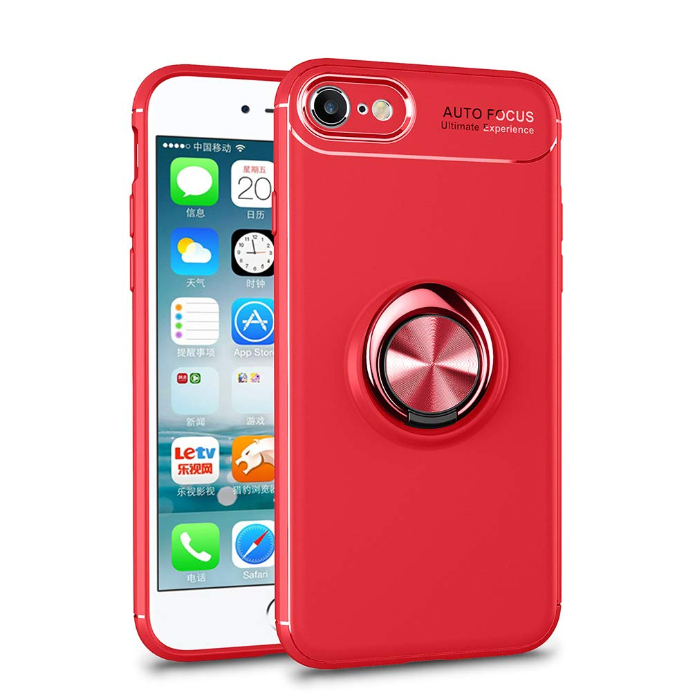 Für iPhone 5/5S/SE Hülle Silikon 360 Grad Handy Ring Ständer Magnet Metallisch Fingerhalter für Auto KFZ-Halterung, Coollee Handyhülle mit Standfunktion Etui TPU Weich Matt Dünn Smartphone Bumper, Ring Rot CL-Ring-IP5-Blk+Red