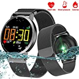 Qiwoo IP67 Waterproof Steel Band Smart Watch with Heart Rate Blood Pressure Sleep Monitor for Men Women iOS Android Sports Fitness Tracker Pedometer Calorie Electronic Wearable Travel Office