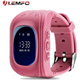 LEMFO Q50 Smart Watch GPS Smartwatch Phone Anti Lost SOS Call Children Finder Fitness Tracker WristWatch Bracelet Parents Control for iOS Android (Pink)