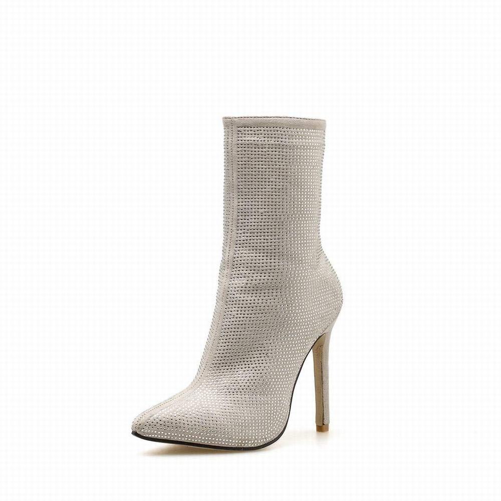 Funytine Spitzen Strass High Heel Mitte Stiefel Seitenreißverschluss Damenschuhe (Farbe   Apricot Größe   36)