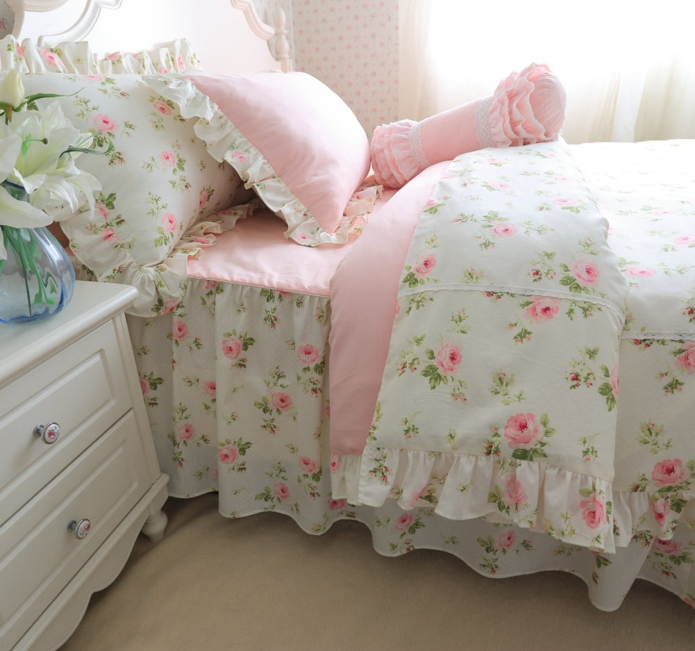 Brandream Romantic Green Pink Rose Bedding Set Girls Kids Bed Set Twin Full Queen King Size