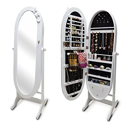 Organizedlife White Floor Standing Oval Jewelry Cabinet Chest With Mirror  Unique Cheval