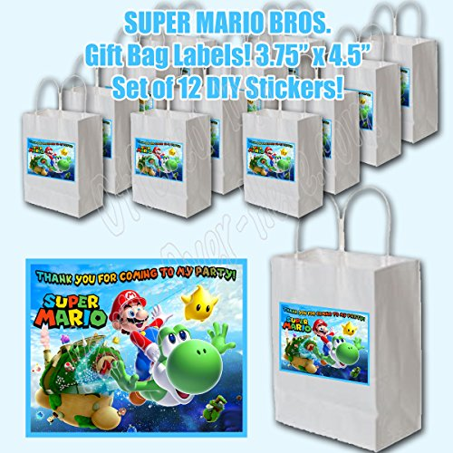 Super Mario Bros Video Game Party Favors Supplies Decorations Gift Bag Label STICKERS ONLY 3.75