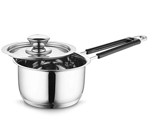 Profusion Stainless Steel Induction Base Sauce Pan with Stainless Steel lid- (Silver, 1 PC- Capacity- 0.9 Litre)
