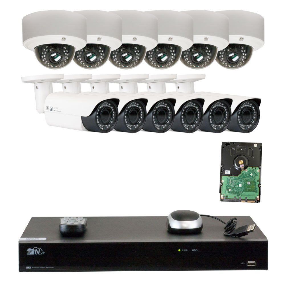 GW Security 16 Channel H.265 4K NVR 5-Megapixel 2592 x 1920 4X Optical Zoom Network Plug Play Security System, 12pcs 5MP 1920p 2.8-12mm Motorized Zoom POE Weatherproof Bullet Dome IP Cameras