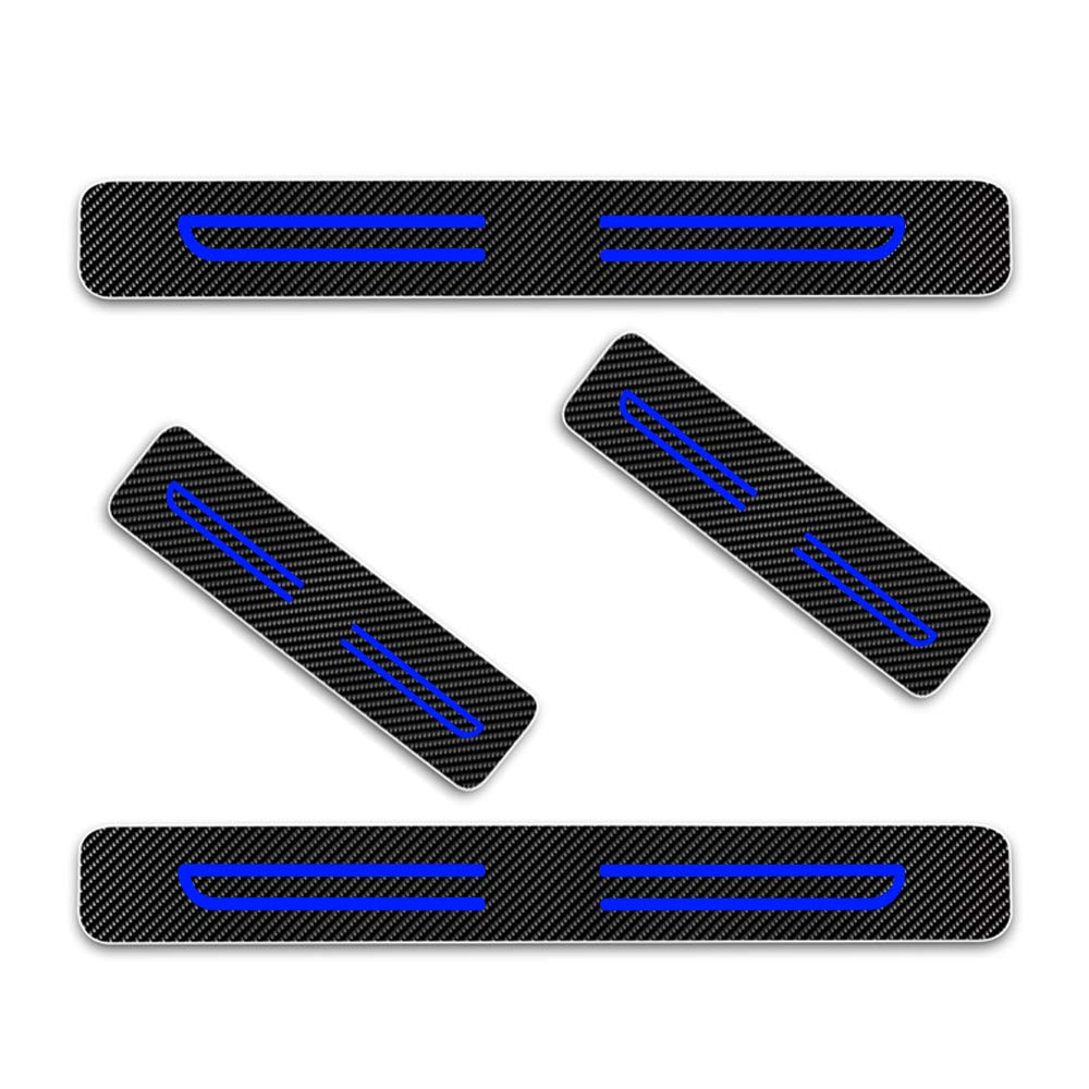 Carbon Fiber Scuff Plate Guard Door Sill Trims Cover Blue 4Pcs For CIVIC CR-V NSX JAZZ HR-V FIT City Accord Odyssey Pilot Kick Plate Protectors