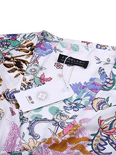 Angelady Split Button Pink Floral Women Maxi Beach Sleeve Short up Print Bohemian Dress nxnO46Er
