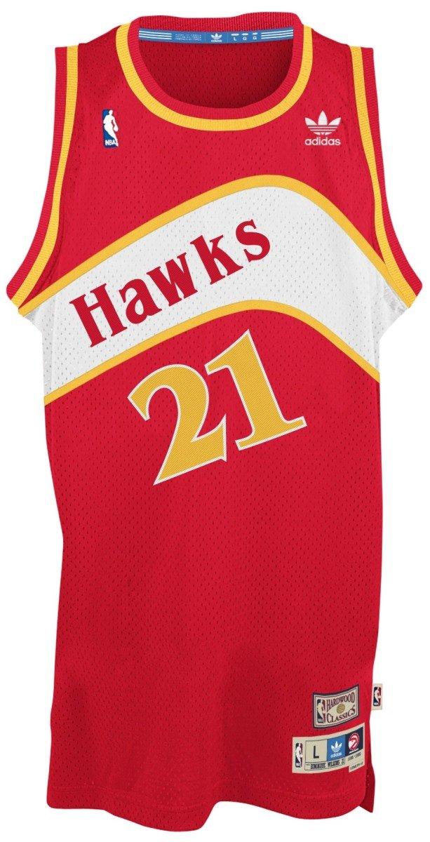 size 40 35e83 4cc5b adidas Dominique Wilkins Atlanta Hawks NBA Throwback Swingman Jersey - Red