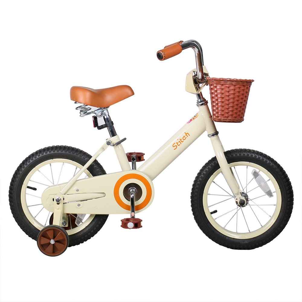 JOYSTAR 14 Inch Kids Bike for Girls,Vintage Kids Bicycle with Front Basket & Training Wheels for 4-6 Years Girls, Coaster Brakes (85% assembled)