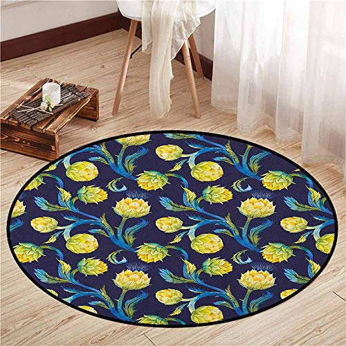 Round Rugs,Artichoke,Watercolor Artichokes Abstract Color Scheme Art Nouveau,Door Floor Mat for Bedroom,2'3