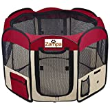 "Pet 45"" Playpen Foldable Portable Dog/Cat/Puppy Exercise Kennel for Small Medium Large. The Best Indoor and Outdoor Pen. with Cary Bag. Easily Sets Up & Folds Down & Space Free (Red)"