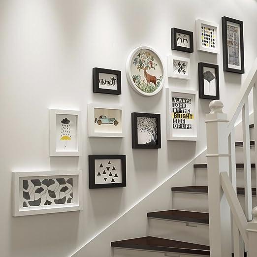 WUXK Madera maciza foto foto de pared pared del vestíbulo escalera ...