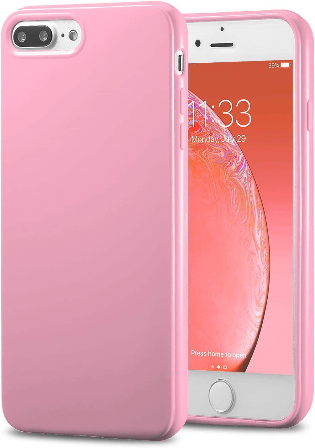 TENOC Phone Case Compatible for Apple iPhone 8 Plus & iPhone 7 Plus 5.5 Inch, Slim Fit Cases Soft TPU Bumper Protective Cover, Glossy Pink