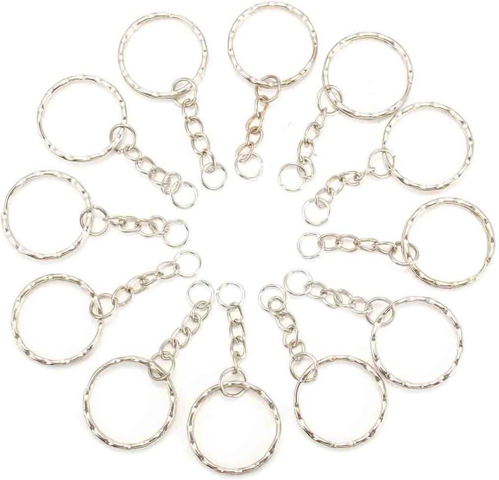 MOHOO 50pcs 25mm Porte-Cl/és//claviers set avec anneaux Bris/és et cha/înes Blanks Argant Avec Cha/îne en Alliage Artisanat