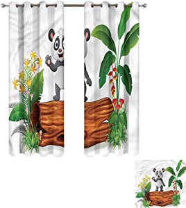 "Cash Hoover Bedroom Curtain Panda,Cute Baby Panda Posing,Living Room and Bedroom Multicolor Printed Curtain Sets 31"" Wx72 L,2 Panels"