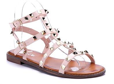 99dbbf6b5c53a0 Schuhtempel24 Damen Schuhe Sandalen Sandaletten rosa flach Nieten ...