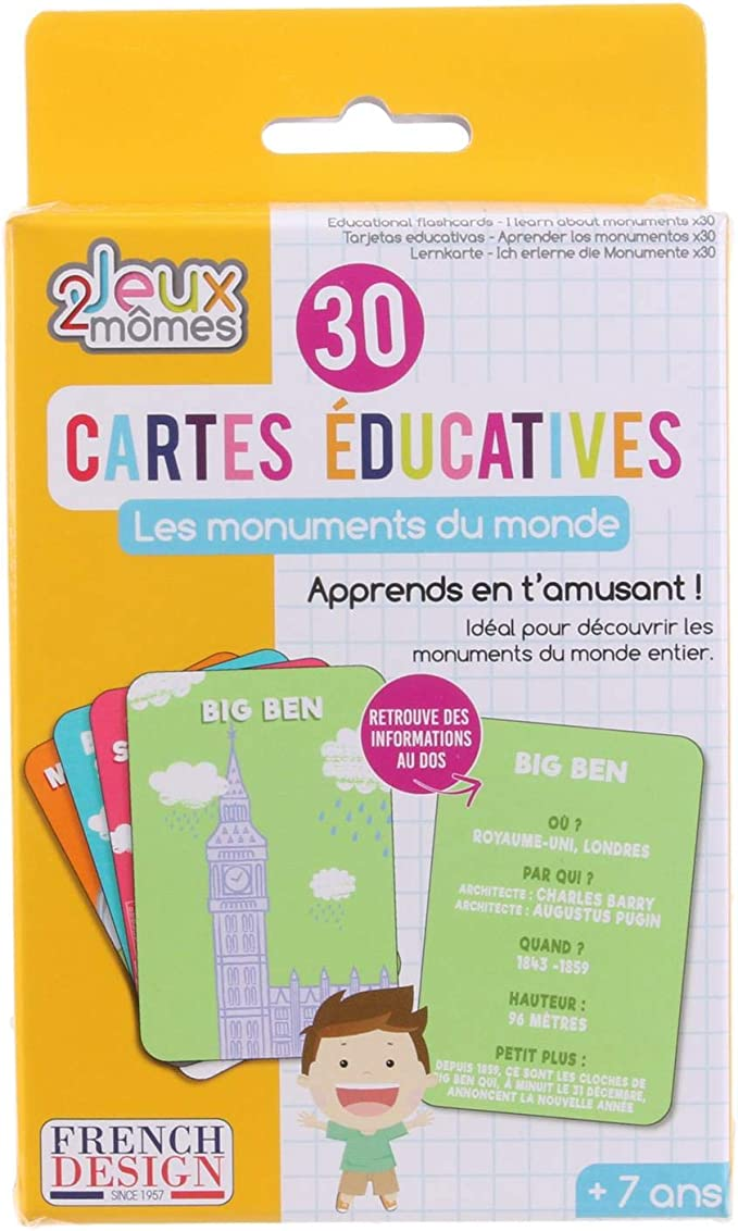 Paquet de 30 Carte éducative J/'apprends les Monuments du Monde x 30 Flash card