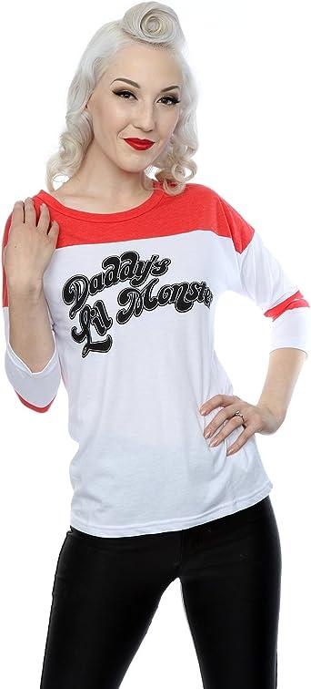 Suicide Squad Mujer Harley Quinn DaddyS Lil Monster Camisa 3/4 béisbol Manga