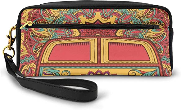 Pencil Case Pen Bag Pouch Stationary,Hippie Vintage Mini Van Ornamental Backdrop with Peace Sign Artwork,Small Makeup Bag Coin Purse: Amazon.es: Equipaje
