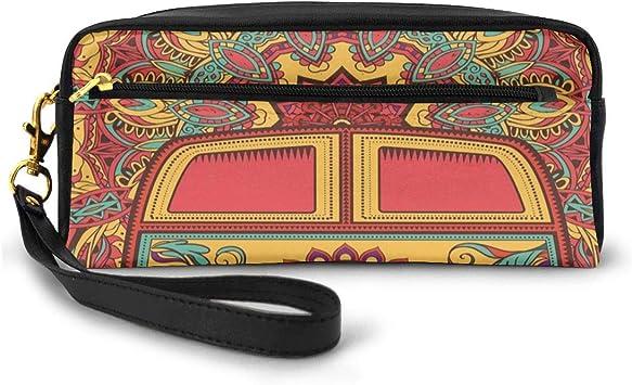 Pencil Case Pen Bag Pouch Stationary,Hippie Vintage Mini Van Ornamental Backdrop with Peace Sign Artwork,Small Makeup Bag Coin Purse: Amazon.es: Equipaje