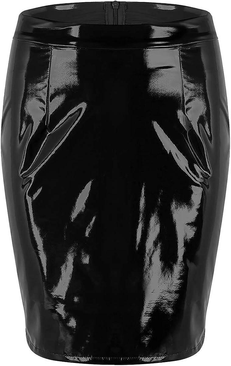 CHICTRY Falda Mujer de Cuero PU de Lápiz Sexy Cintura Alta Atractiva Falda Corta de Charol Mini Vestido Latex Elegante para Fiesta Casual(S-XXXL)