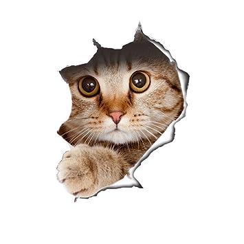 Kenmont Gatos Calcomanías Animales gato Pegatinas de Pared Calcomanías de Moda Calcomanías de Inodoro Calcomanías Decorativas de Pared (looking cat): ...