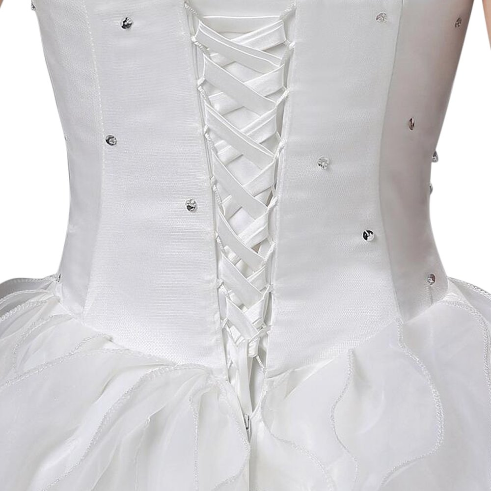 LIWA Beading Ruffles Long Wedding Dress Strapless Court Train Bandage Tutu Bridal Veil (small, white) by LIWA (Image #6)