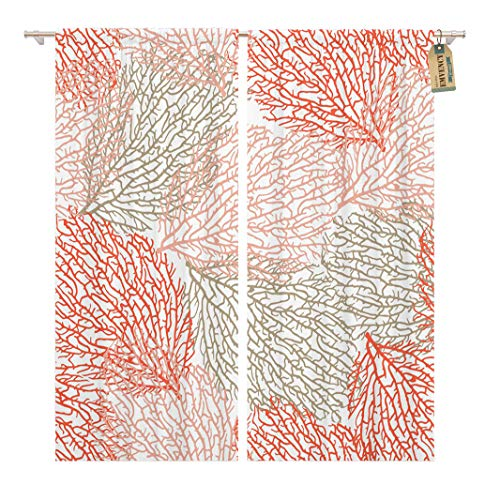Golee Window Curtain Coastal Coral Bright Cheerful Summer Pattern Interior Cosmetics Food Home Decor Rod Pocket Drapes 2 Panels Curtain 104 x 84 inches