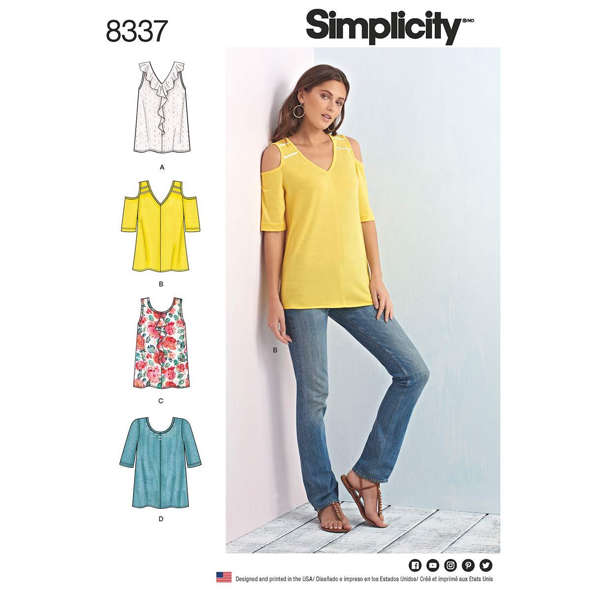 Simplicity Pattern 8337 A(XXS-XS-SML-XL-XXL)ボディスと袖のバリエーションがあるニットトップスがありません、ペーパー、ホワイト、22 x 15 x 1 cm   B06WGVRKZR