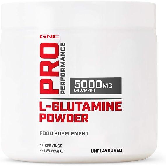 GNC Pro Performance L-Glutamine Powder 5000mg - Sin sabor, 45 porciones, apoya el crecimiento del músculo magro