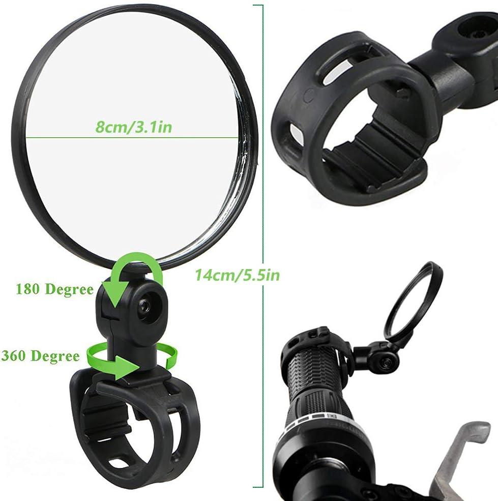 Bicicletas de Monta/ña Veh/ículos Todo Terreno Ttc/—Negro para Ciclismo en Bicicleta Ziyero 1 Par Universal Ajustable Espejo Manillar Retrovisor Bici Mini Bicicleta Vidrio Espejos F/ácil de Instalar