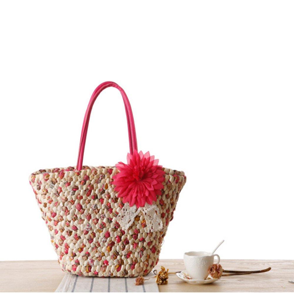 New flower straw shoulder rattan beach woman bag (red)