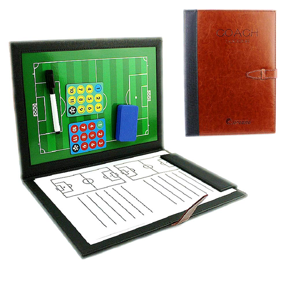 18.9'' x 12.6'' Coaches Tactical Board, RoseFlower Portable Professional Football/Soccer Magnetic Tactics Strategy Clipboard Training Assistant Equipment with Erasable Write-Wipe 2 in 1 Pen and Eraser