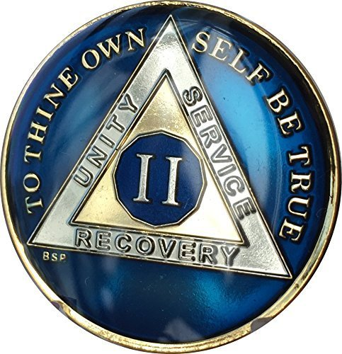 2 Year Midnight Blue AA Alcoholics Anonymous Medallion for sale  Delivered anywhere in USA
