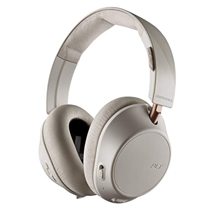 Plantronics BackBeat GO 810 Wireless Headphones, Active Noise Canceling Over Ear Headphones, Bone White