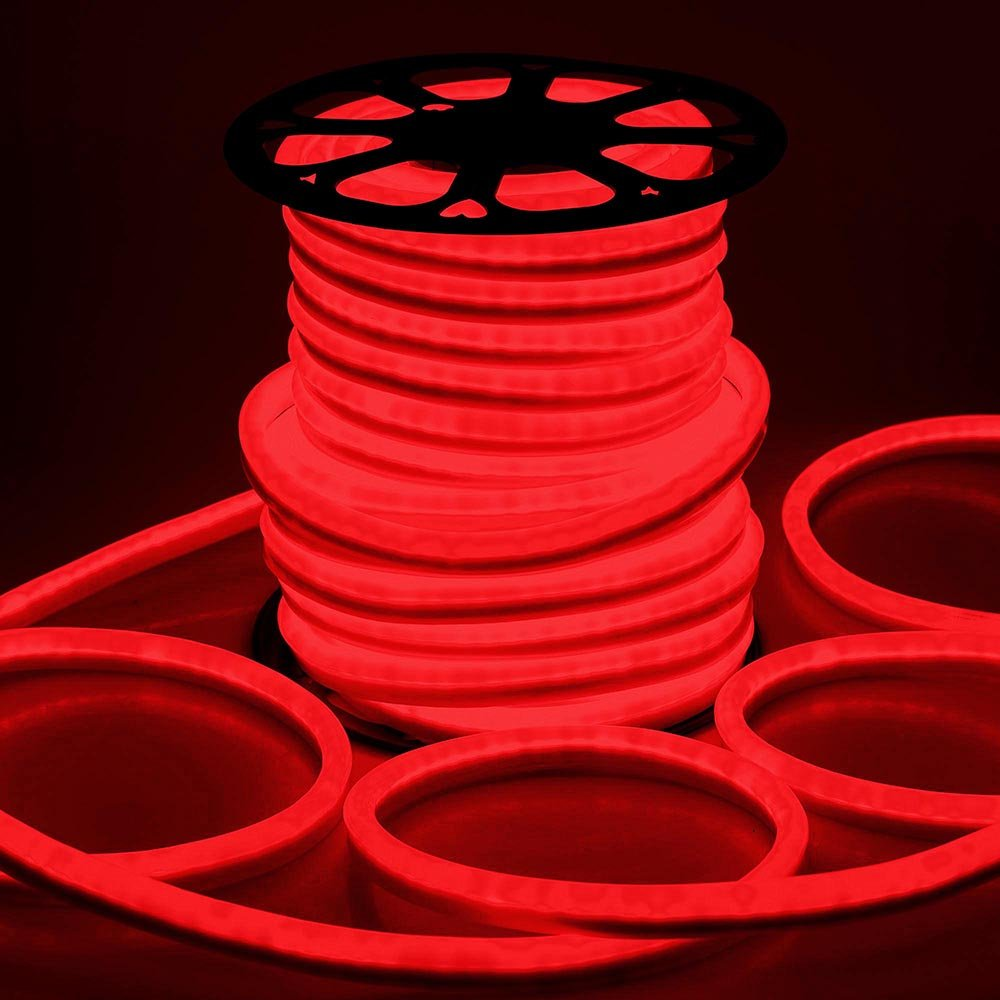 DELight 150ft 110V Red Flexible LED Neon Rope Light Indoor Outdoor Holiday Valentines Party Decor Lighting