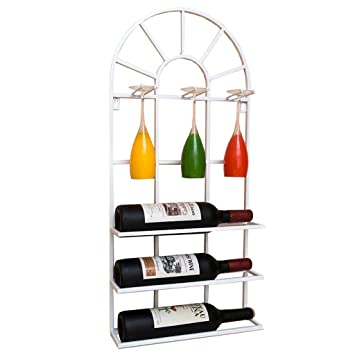 Muebles de Bar Loft Estantería montada en la Pared Hierro metálico Estantería suspendida Botellas de Vino Botella de Vino y portavasos Porta Vasos de Vino ...