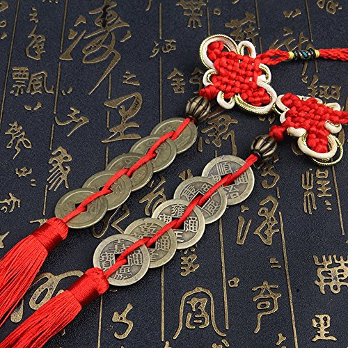 Novelty House Chinese Feng Shui Money Coins with Handmade Red Enless Knot Decoration for Wealth and Success Chinese New Year - 2 sets of 5 coins