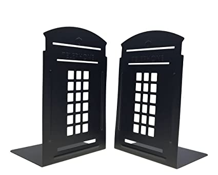 Superb Bookends Pair Non Slip Heavy Metal Durable Sturdy Strong Books Organizer  Telephone Booth Bookshelf Decor
