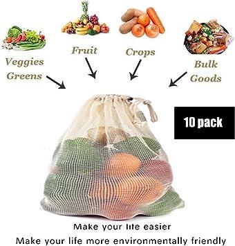 BUDAIDAI 10 Paquetes de Verduras y Frutas/algodón orgánico Lavable/Naturales/Productos agrícolas de Malla Bolsas de la Compra/Medio Ambiente Bolsas de Malla Reutilizables, 43 * 30cm: Amazon.es: Deportes y aire libre