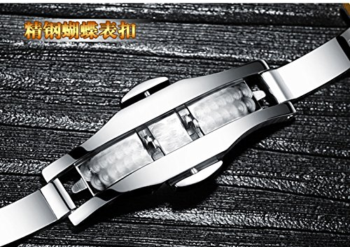 Luxury Men Automatic Mechanical Business Calendar Stainless Steel Military Rhinestone Waterproof Watch (Gold) by Fanmis (Image #6)