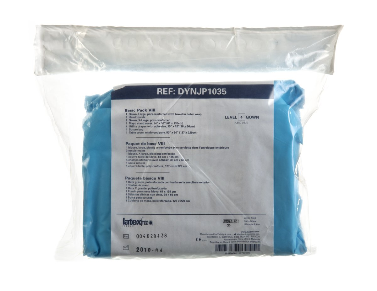Amazon.com: Medline DYNJP1035A Sterile Basic Surgical Pack VIII, Aurora (Pack of 8): Industrial & Scientific
