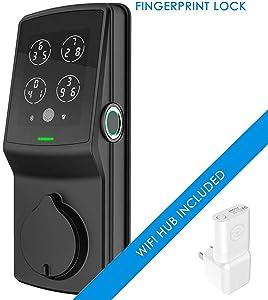 Lockly Secure Pro   Bluetooth Fingerprint WiFi Keyless Entry Smart Door Lock (PGD 728W) Patented Keypad   3D Fingerprint Reader   iOS and Android Compatible (Dead Bolt, Matte Black)