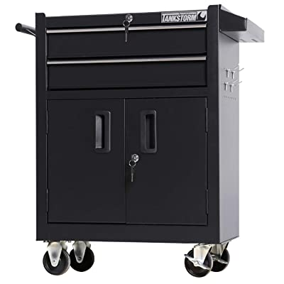 TANKSTORM Tool Chest Heavy Duty Cart Steel Rolling Tool Box with Adjustable Shelf Inside and Lockable Drawers and Doors (TZ15A Black): Home Improvement