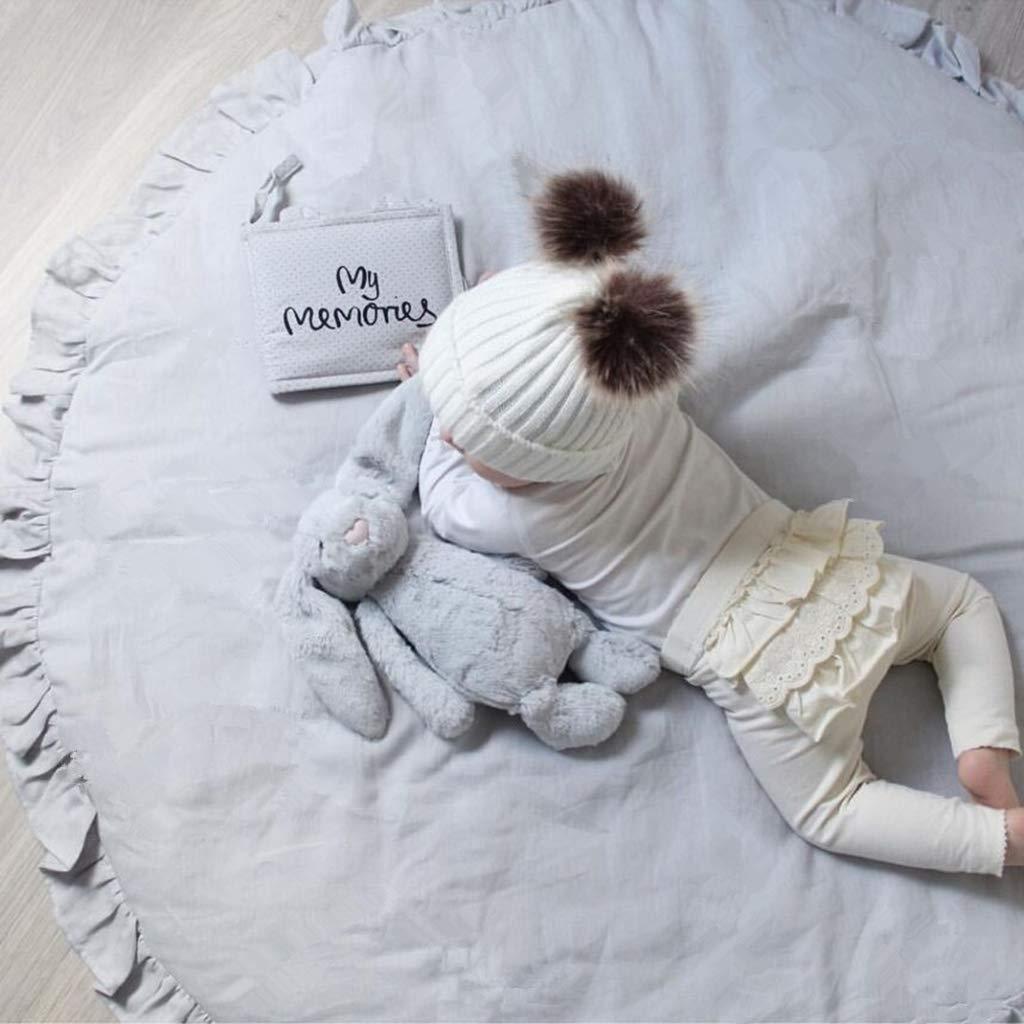 C Diam/ètre : 105 cm Rembourr/é Bord de fleurs mignonnes pour d/écoration dint/érieur ramper et dormir Pour jouer Doux et chaud Tapis de jeu rond en dentelle pour b/éb/é