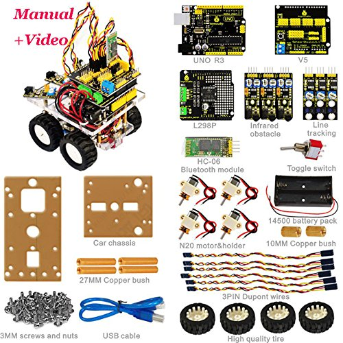 New! Desktop Wireless Bluetooth Smart Car DIY Robot Kit for Arduino Starter by Aigh Auality shop