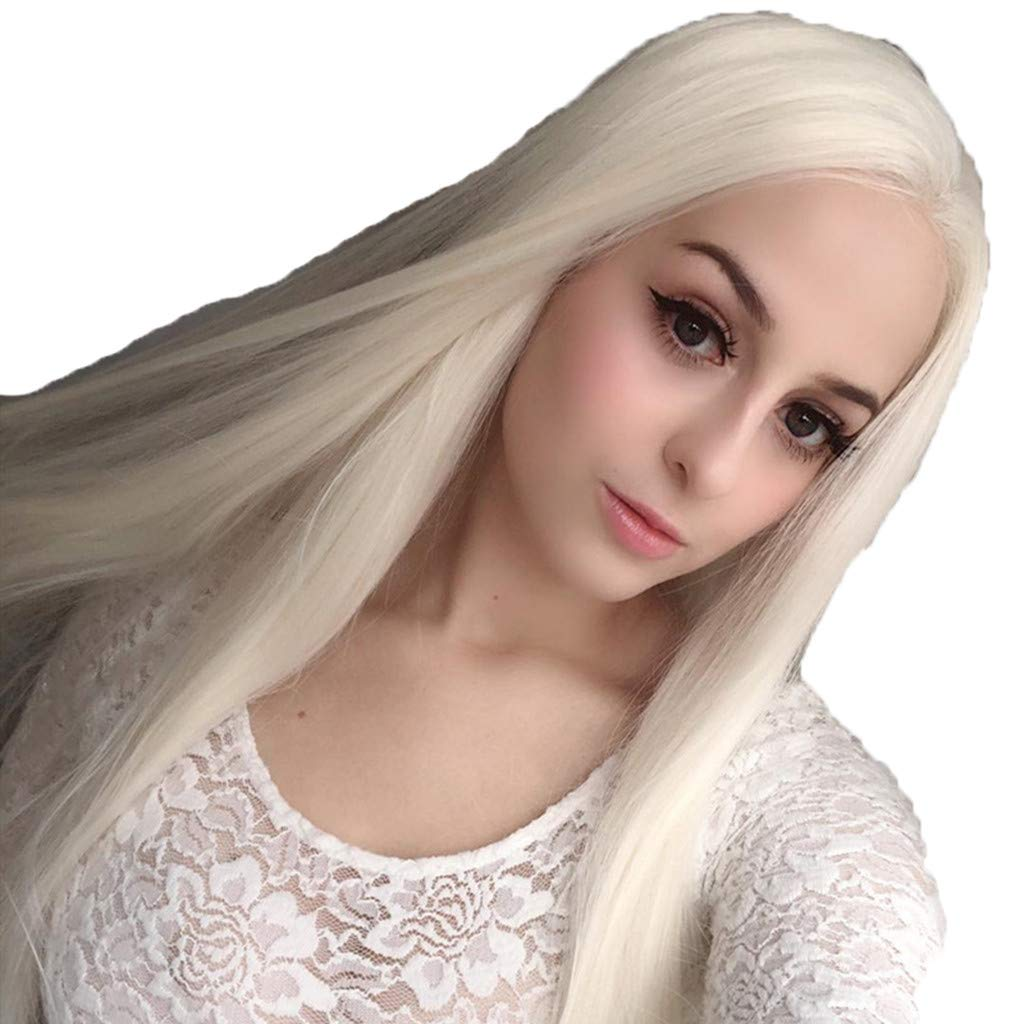 JYS 26 Inches Women Special Natural Long Straight Side Bangs Synthetic Wig Long Straight White Wigs Ladies Women's Full Head Cosplay Anime Costume Party Wig Halloween (White) by JYS (Image #2)