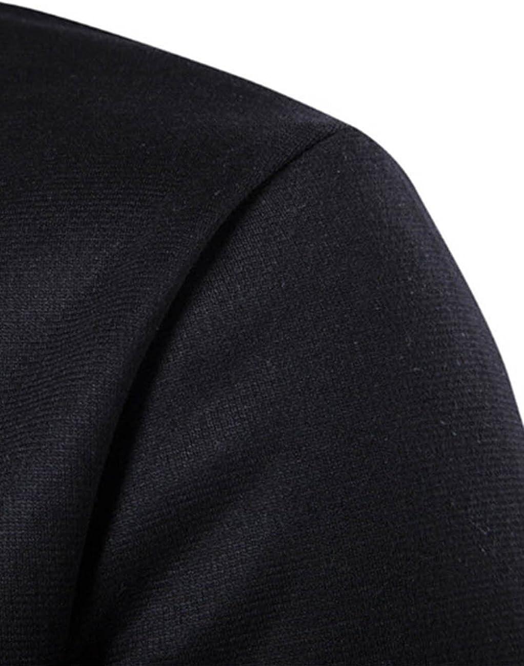 SHOBDW Hombres Sudadera con Capucha Oto/ño Invierno Cuello Alto de Gran Tama/ño Tallas Grandes Camisetas de Manga Larga Remiendo S/ólido tee Outwear Blusa Su/éter